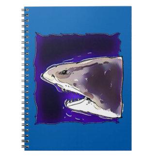 great white shark half body cartoon notebook