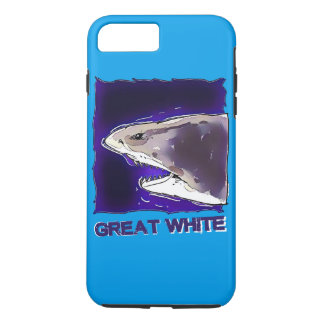 great white shark half body cartoon with text iPhone 8 plus/7 plus case