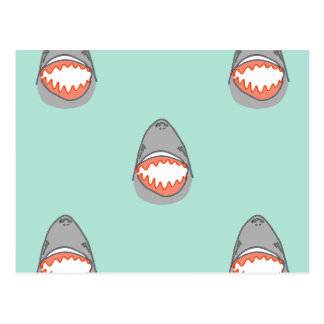 Great White Shark Heads in Grey w Aqua Ocean Water Postcard