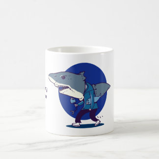 great white shark man walking funny cartoon coffee mug