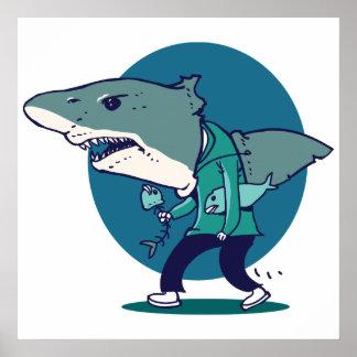 great white shark man walking funny cartoon poster