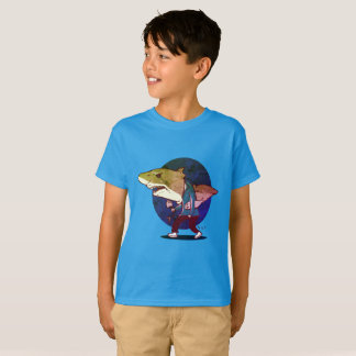 great white shark man walking funny cartoon T-Shirt