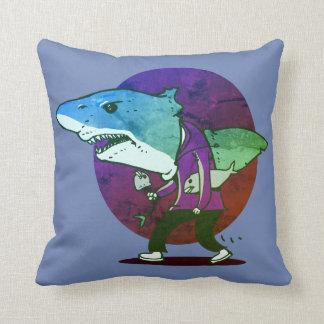 great white shark man walking funny cartoon throw pillow