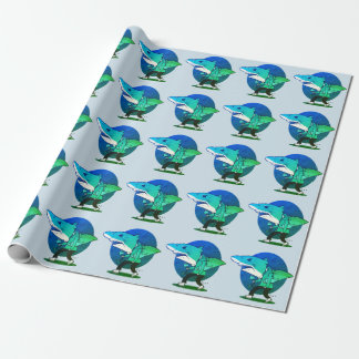 great white shark man walking funny cartoon wrapping paper