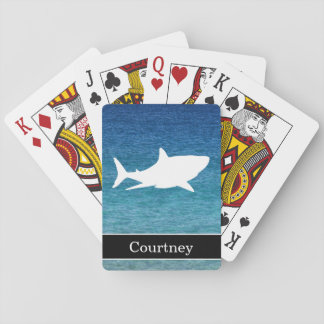 Great White Shark on Ocean Background with Name Playing Cards