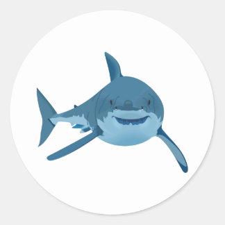 GREAT WHITE SHARK ROUND STICKER