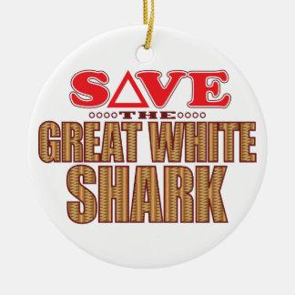 Great White Shark Save Ceramic Ornament