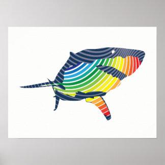 Great White Shark Swoosh Poster