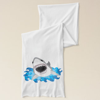 Great White Shark With Jaws Wide Open Scarf