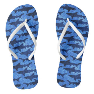 Great White Sharks Beach Party Fun Flip Flops