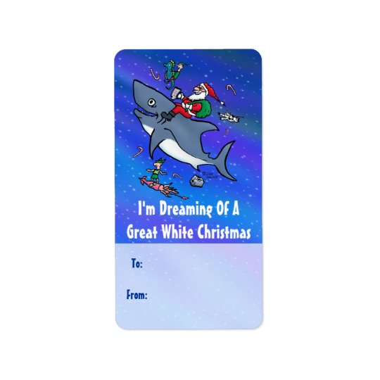 Great White Xmas Gift Labels With Santa on Shark