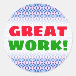 """GREAT WORK!""; Blue and Pink Diamond Shape Pattern Classic Round Sticker"