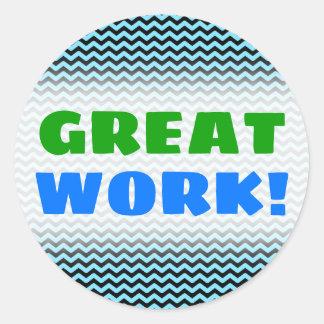 """GREAT WORK!"" + Light Blue & Black Wave Pattern Classic Round Sticker"