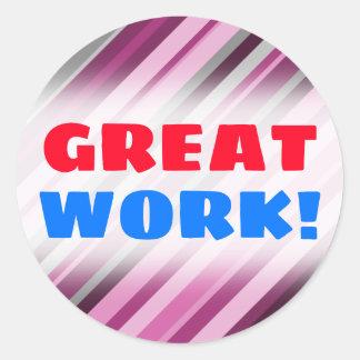 """GREAT WORK!"" + Pink/Purple/Grey Stripes Sticker"