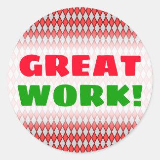 """GREAT WORK!"" + Red and Gray Diamond Shape Pattern Classic Round Sticker"