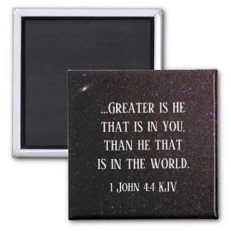 """""""Greater is He that is in Me"""" Scripture Starry Sky Magnet"""