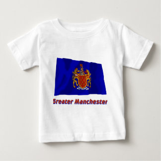 Greater Manchester Waving Flag with Name Baby T-Shirt