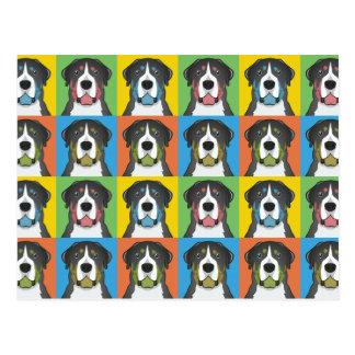 Greater Swiss Mountain Dog Dog Cartoon Pop-Art Postcard