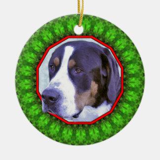 Greater Swiss Mountain Dog Happy Howliday Ceramic Ornament