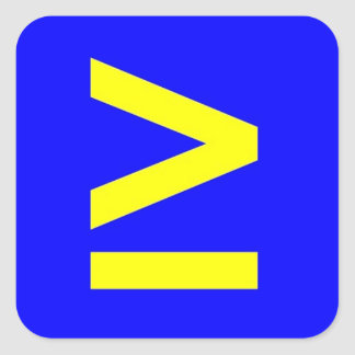 Greater Than or Equal Square Sticker