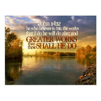 Greater Works Shall He Do, John 14 12 Bible Verse Postcard