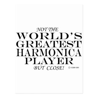 Greatest Harmonica Player Close Postcard