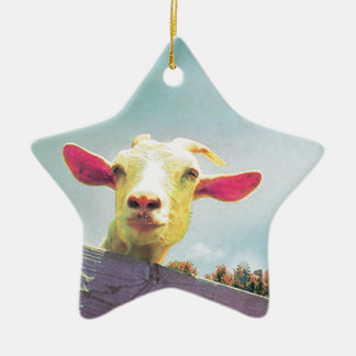 Greatest of All Time pink eared goat Ceramic Star Ornament