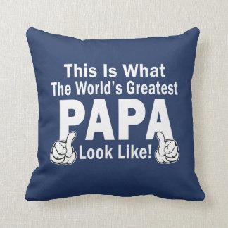 Greatest Papa Throw Pillow