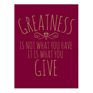 Greatness in giving slogan postcard