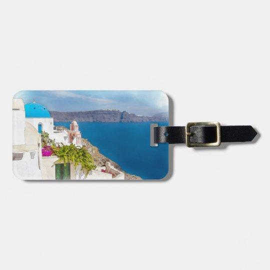 Grecian Paradise. Watercolor painting of Santorini Luggage Tag