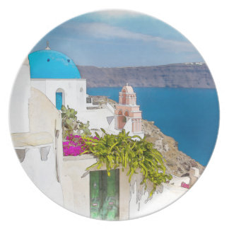 Grecian Paradise. Watercolor painting of Santorini Plate