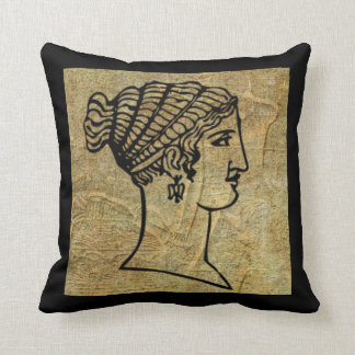 Grecian Woman Greek Antique Scroll Throw Pillow