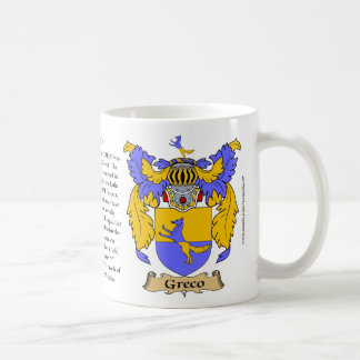 Greco, the Origin, the Meaning and the Crest Coffee Mug