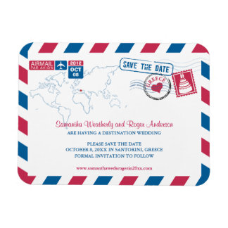 Greece Air Mail Wedding Save the Date 3x4 Magnet