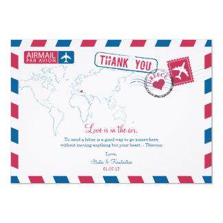 Greece Air Mail Wedding Thank You Card