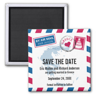 Greece Airmail Two Grooms Wedding Save the Date Square Magnet