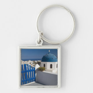 Greece and Greek Island of Santorini from the Silver-Colored Square Keychain