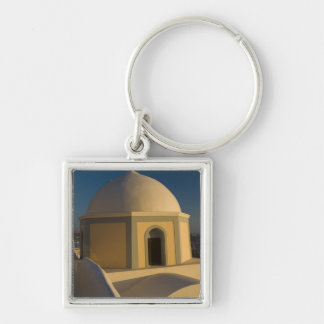Greece and Greek Island of Santorini town of 2 Silver-Colored Square Keychain
