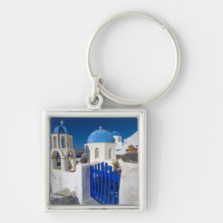 Greece and Greek Island of Santorini town of Oia 3 Silver-Colored Square Keychain