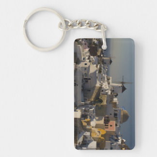 Greece and Greek Island of Santorini town of Oia Double-Sided Rectangular Acrylic Keychain