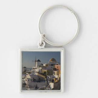 Greece and Greek Island of Santorini town of Oia Silver-Colored Square Keychain
