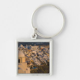 Greece and Greek Island of Santorini town of Silver-Colored Square Keychain