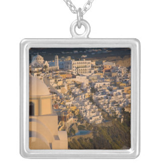 Greece and Greek Island of Santorini town of Silver Plated Necklace