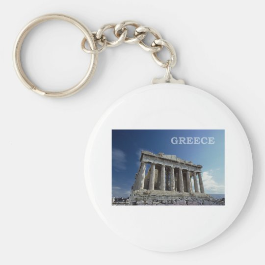 Greece Basic Round Button Keychain