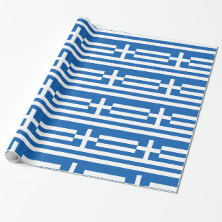 Greece Blue White stripes and cross Wrapping Paper