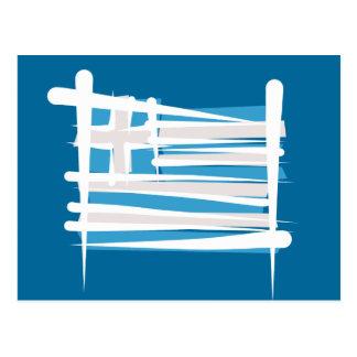 Greece Brush Flag Postcard