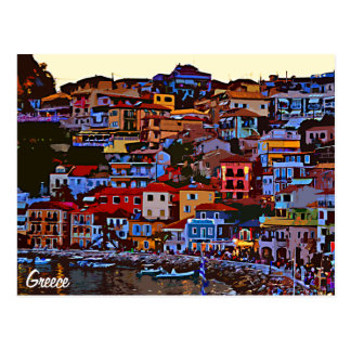 Greece colorful building beach postcard