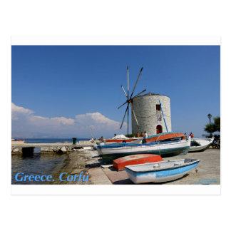 Greece, Corfu, Old Windmill, Postcard