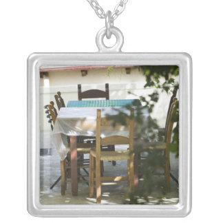 GREECE, CRETE, Hania Province, Vamos: Cafe Table Square Pendant Necklace