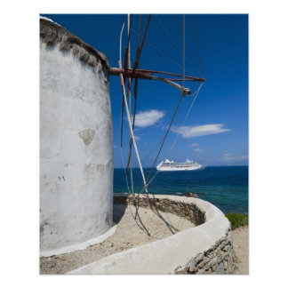 Greece, Cyclades Islands, Mykonos, Old windmill Poster